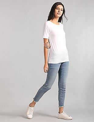 GAP Women White Ribbed Henley Tank Top