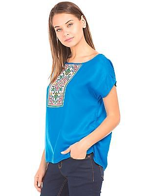 Bronz Printed Patch Woven Top