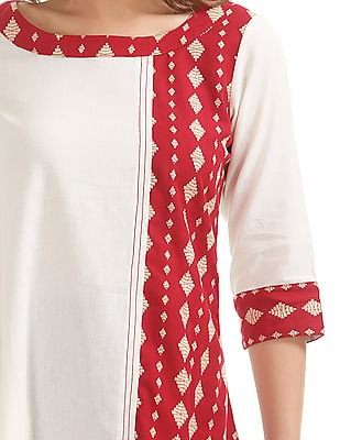 Anahi Contrast Panel Cotton Kurta