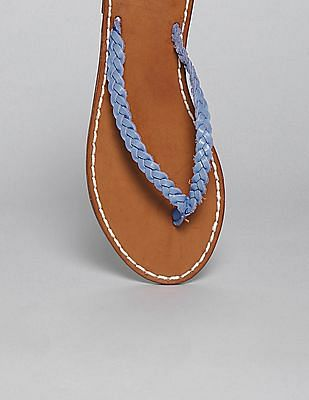GAP Women Blue Braid Leather Flip Flops