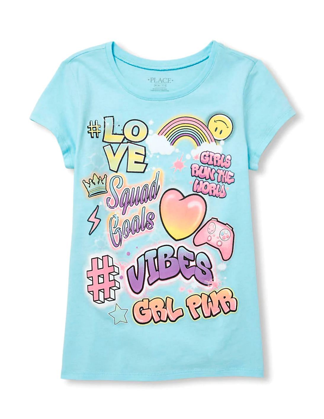 4fb5526bd Buy Girls Girls Short Sleeve 'Squad Goals' Graffiti Graphic Tee online ...