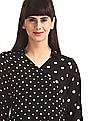 Elle Studio Black Notch Spread Collar Polka Print Top