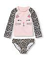 The Children's Place Baby And Toddler Girl Pink Long Raglan Sleeve Cat Face Graphic Rash Guard Set