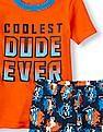 The Children's Place Boys Orange Short Sleeve 'Coolest Dude Ever' Pyjama Set