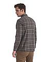 Arrow Sports Beige And Navy Concealed Button Down Collar Shirt
