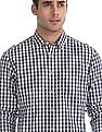 Flying Machine Off White And Navy Cotton Check Shirt