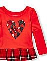 The Children's Place Toddler Girl Long Sleeve Glitter Graphic Printed Ruffle-Hem Top