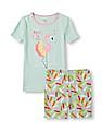 The Children's Place Girls Short Sleeve 'Pretty Little Thing' Flamingo Top And Feather Print Shorts PJ Set