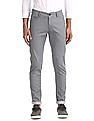 Flying Machine Grey Super Slim Fit Printed Trousers