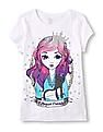 The Children's Place Girls Short Sleeve Girl Cat BFF Print T-Shirt