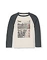 The Children's Place Boys White Long Raglan Sleeve Athletic Graphic Top