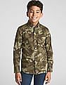 GAP Boys Poplin Camo Long Sleeve Shirt