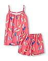 The Children's Place Girls Sleeveless Flip-Flop Print Tank Top And Shorts PJ Set
