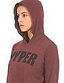 Flying Machine Women Heathered Hooded Crop Top