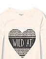 The Children's Place Girls Long Raglan Sleeve Embellished Graphic Hi-Low Tunic