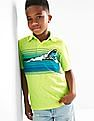 GAP Boys Green Graphic Slub Polo
