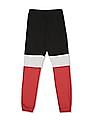 FM Boys Black And Red Boys Colour Block Joggers