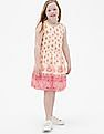 GAP White Girls Border-Print Fit and Flare Dress