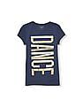 The Children's Place Girls Blue Short Sleeve Glitter 'Dance' Graphic Tee