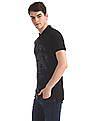 U.S. Polo Assn. Denim Co. Black Front Print Pique Polo Shirt