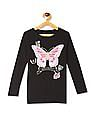 The Children's Place Girls Black  Glittery Butterfly Print T-Shirt