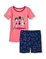 The Children's Place Girls Short Sleeve Girls Graphic Top and Star Print Shorts PJ Set