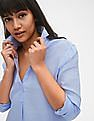 GAP Women Blue Boyfriend Solid Popover Tunic in Linen