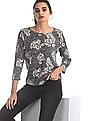 Flying Machine Women Grey Round Neck Boxy Top