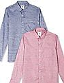 Excalibur Long Sleeve Patterned Check Shirt - Pack Of 2