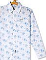 U.S. Polo Assn. Kids White Boys Spread Collar Printed Shirt