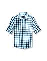 The Children's Place Boys Roll Up Long Sleeve Plaid Poplin Button Down Shirt